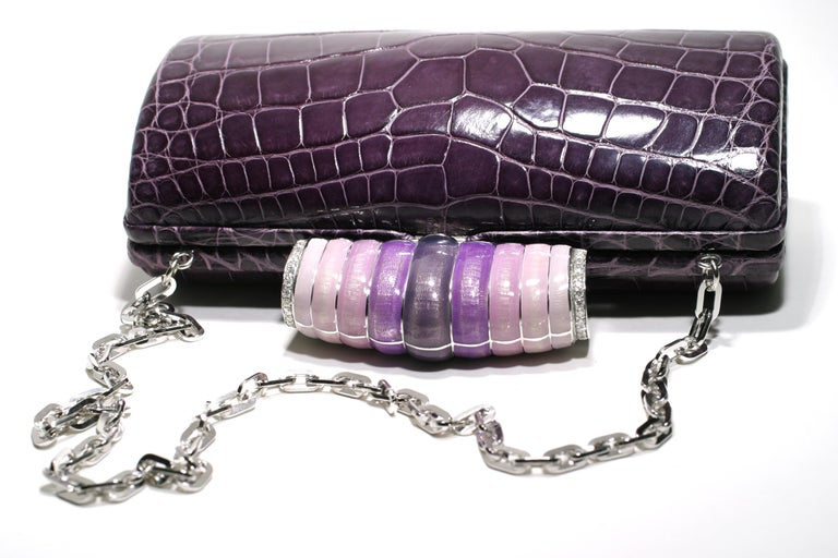Contemporary Jeweled Diamond and Enamel Exotic Purple Exotic Skin Silver Minaudière For Sale