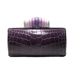 Jeweled Diamond and Enamel Exotic Purple Exotic Skin Silver Minaudière