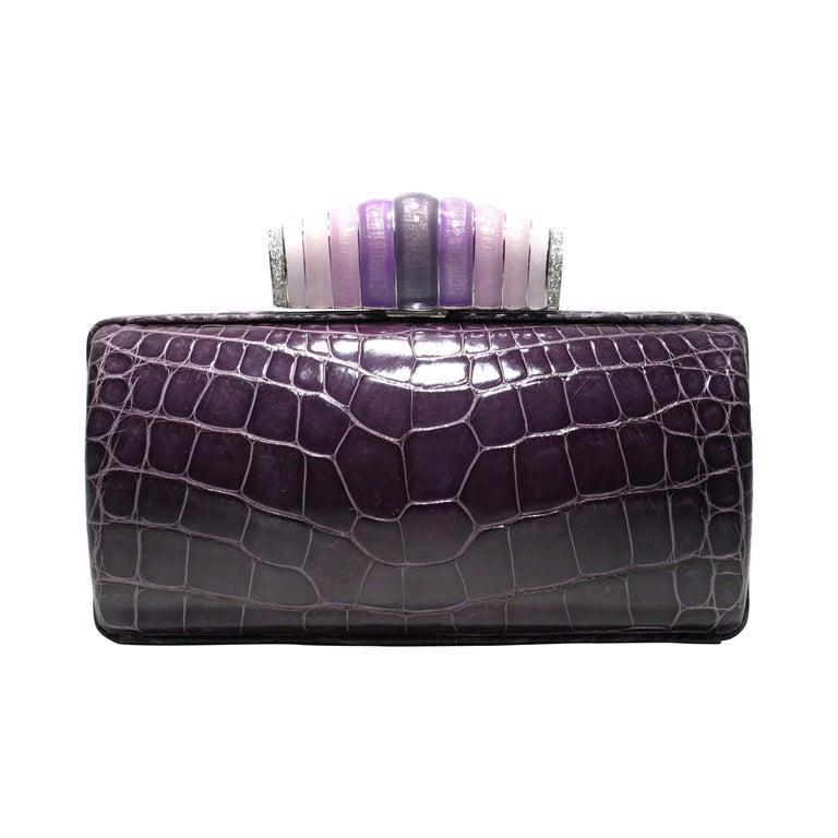 Jeweled Diamond and Enamel Exotic Purple Exotic Skin Silver Minaudière For Sale