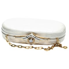 Jeweled Diamond and Enamel Silver Clasp White Alligator Exotic Skin  Minaudière