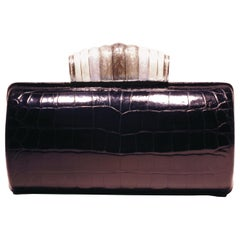 Jeweled Diamond and Enamel Silver Clasp Black Alligator Exotic Skin Minaudière