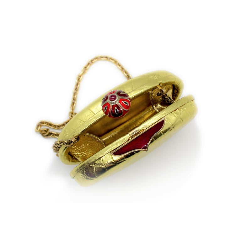 Contemporary Jeweled Diamond Cabochon Ruby and Enamel Gold Exotic Skin Silver Minaudière For Sale