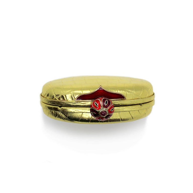 Round Cut Jeweled Diamond Cabochon Ruby and Enamel Gold Exotic Skin Silver Minaudière For Sale