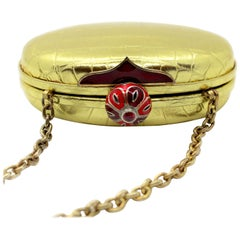 Jeweled Diamond Cabochon Ruby and Enamel Gold Exotic Skin Silver Minaudière