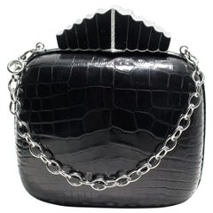 Jeweled Diamond Silver Black Enamel Clasp Black Alligator Skin Minaudière