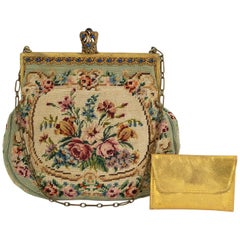 Jeweled Edwardian Trinity Plate Micro Needlepoint Reticule and Mirror, 1900s