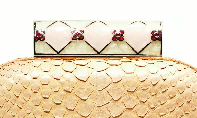 Jeweled Floral Ruby Enamel Silver Clasp Buff Python Skin Minaudière In New Condition For Sale In New York, NY