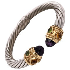 Jeweled Gold and Sterling Silver Bangle Cuff Bracelet Estate Fine Jewelry