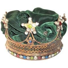 Jeweled Paste Gilt Toned Mardi Gras or Debutante Crown