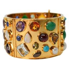 Jeweled Yellow Gold Wide Cuff Bracelet