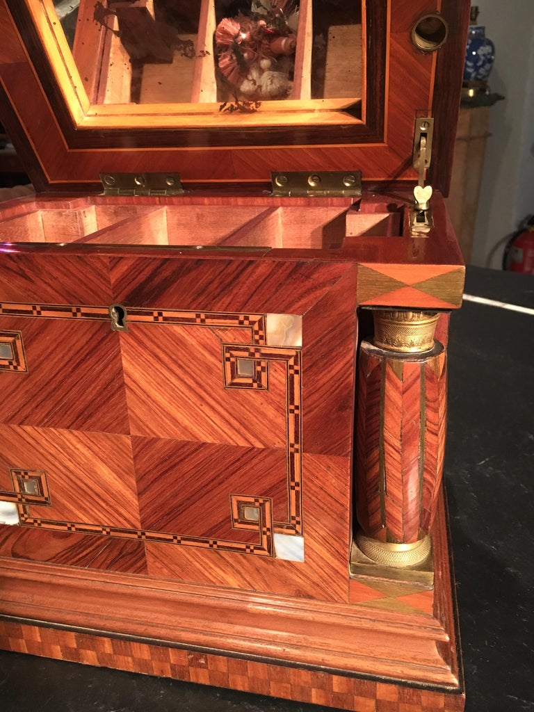 Jeweler box in marquetry of different woods and applications. Artdeco period. circa 1930.