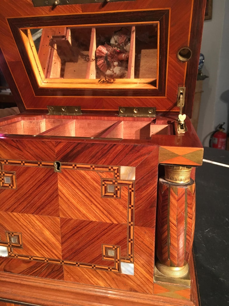 French Jeweler Box in Marquetry of Different Woods and Applications, circa 1930 For Sale