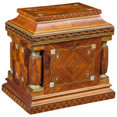 Jeweler Box in Marquetry of Different Woods and Applications, circa 1930