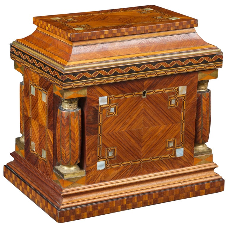 Jeweler Box in Marquetry of Different Woods and Applications, circa 1930 For Sale