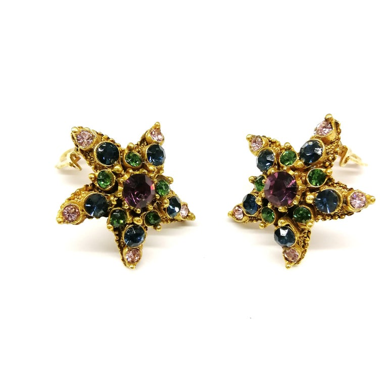 Lovely jewelled earrings in soft colours and soft toned gilt metal, in the form of a stylised 'starfish', from Florenza, from the 1960s. As you might not expect, Florenza costume jewellery was not named as an homage to Florence, Italy. Instead, it