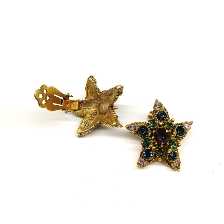 Jewelled gilt metal and coloured paste 'starfish' earrings, Florenza, 1960s In Excellent Condition For Sale In London, GB
