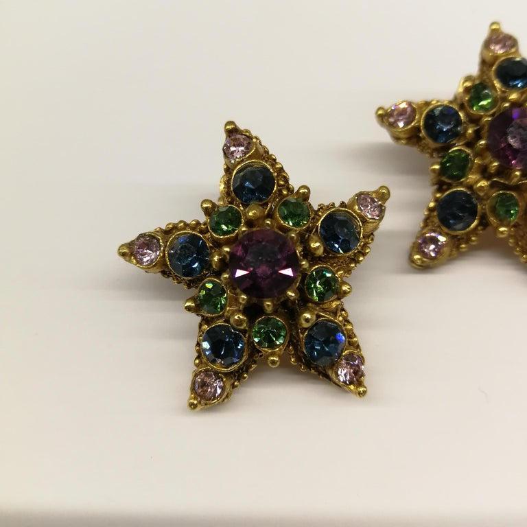 Women's Jewelled gilt metal and coloured paste 'starfish' earrings, Florenza, 1960s For Sale