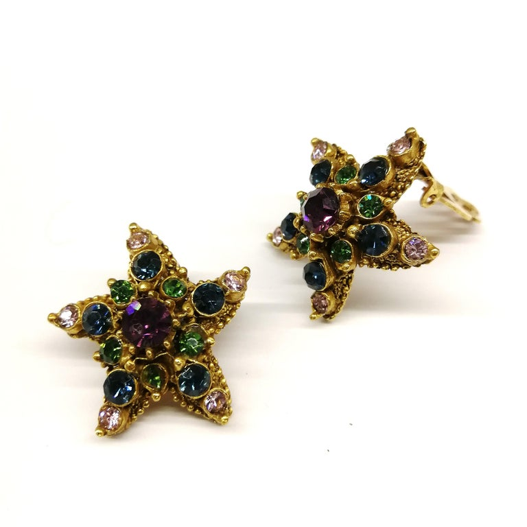 Jewelled gilt metal and coloured paste 'starfish' earrings, Florenza, 1960s For Sale 1