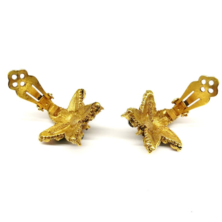 Jewelled gilt metal and coloured paste 'starfish' earrings, Florenza, 1960s For Sale 3