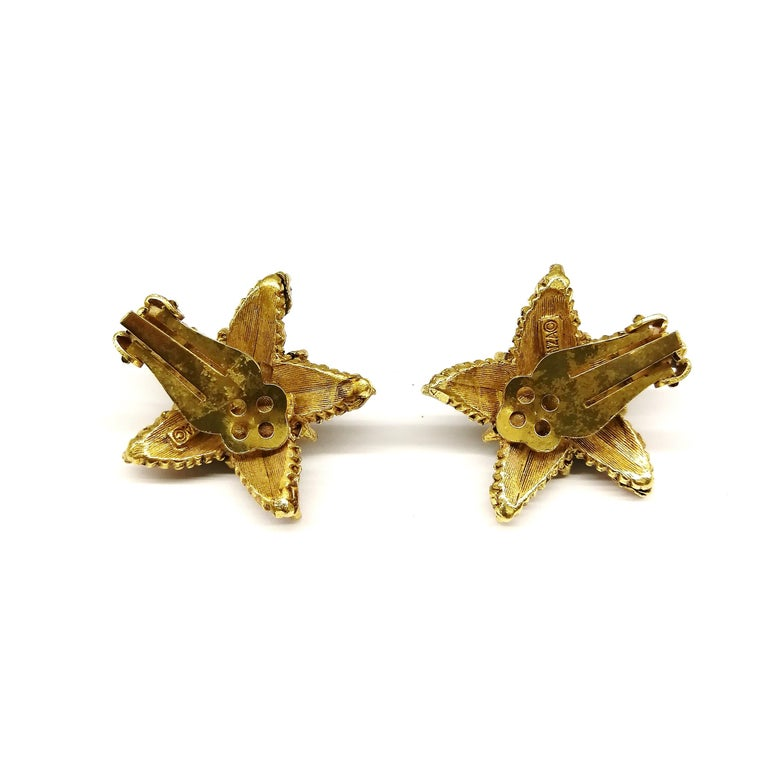 Jewelled gilt metal and coloured paste 'starfish' earrings, Florenza, 1960s For Sale 4