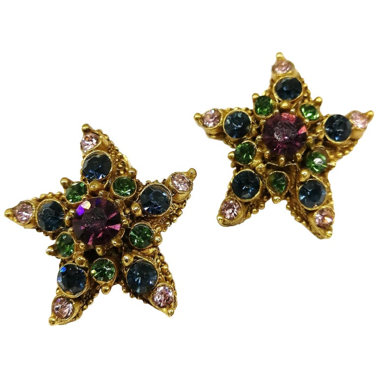 Jewelled gilt metal and coloured paste 'starfish' earrings, Florenza, 1960s For Sale