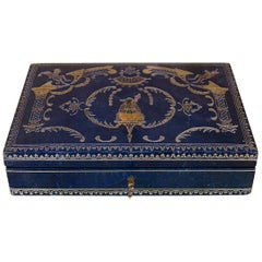 Jewelry Box Covered with Blue Moroccan Leather Napoleon 3 Period