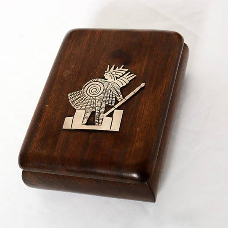 Unknown Jewelry Box Exotic Mahogany with Silver Emblem For Sale