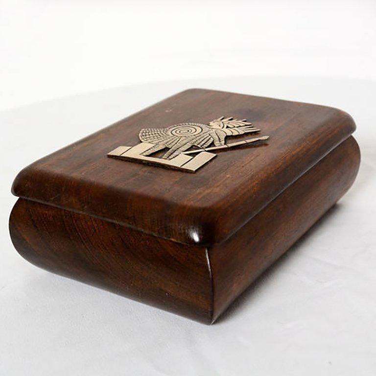 Jewelry Box Exotic Mahogany with Silver Emblem In Excellent Condition For Sale In National City, CA