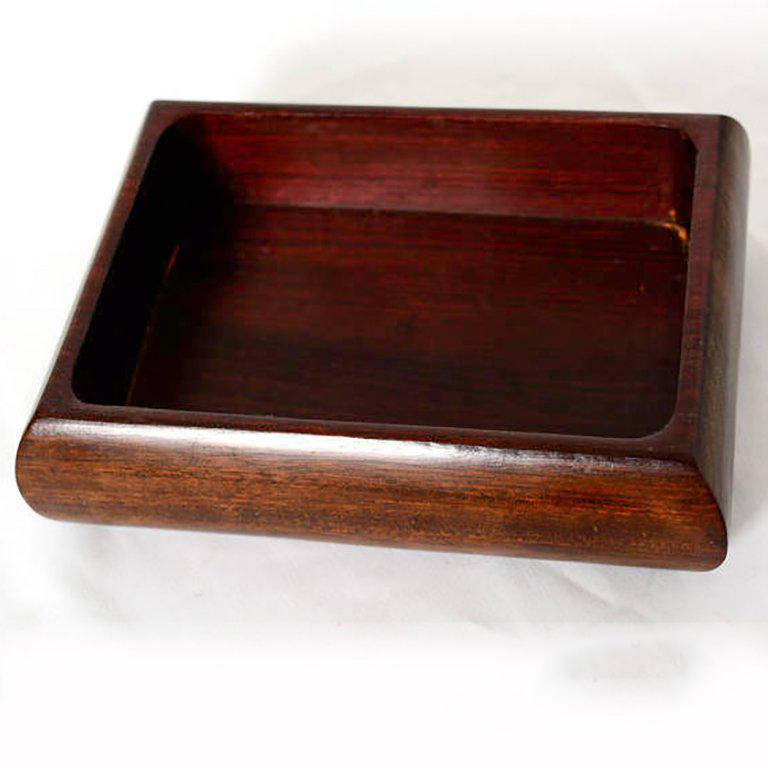 Jewelry Box Exotic Mahogany with Silver Emblem For Sale 1