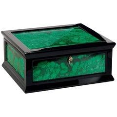 Jewelry Box in Glossy Black with Malachite Inserts by Agresti