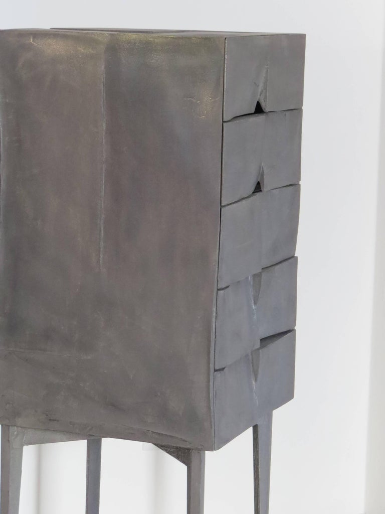 Hand-Crafted Jewelry Cabinet Titanium For Sale