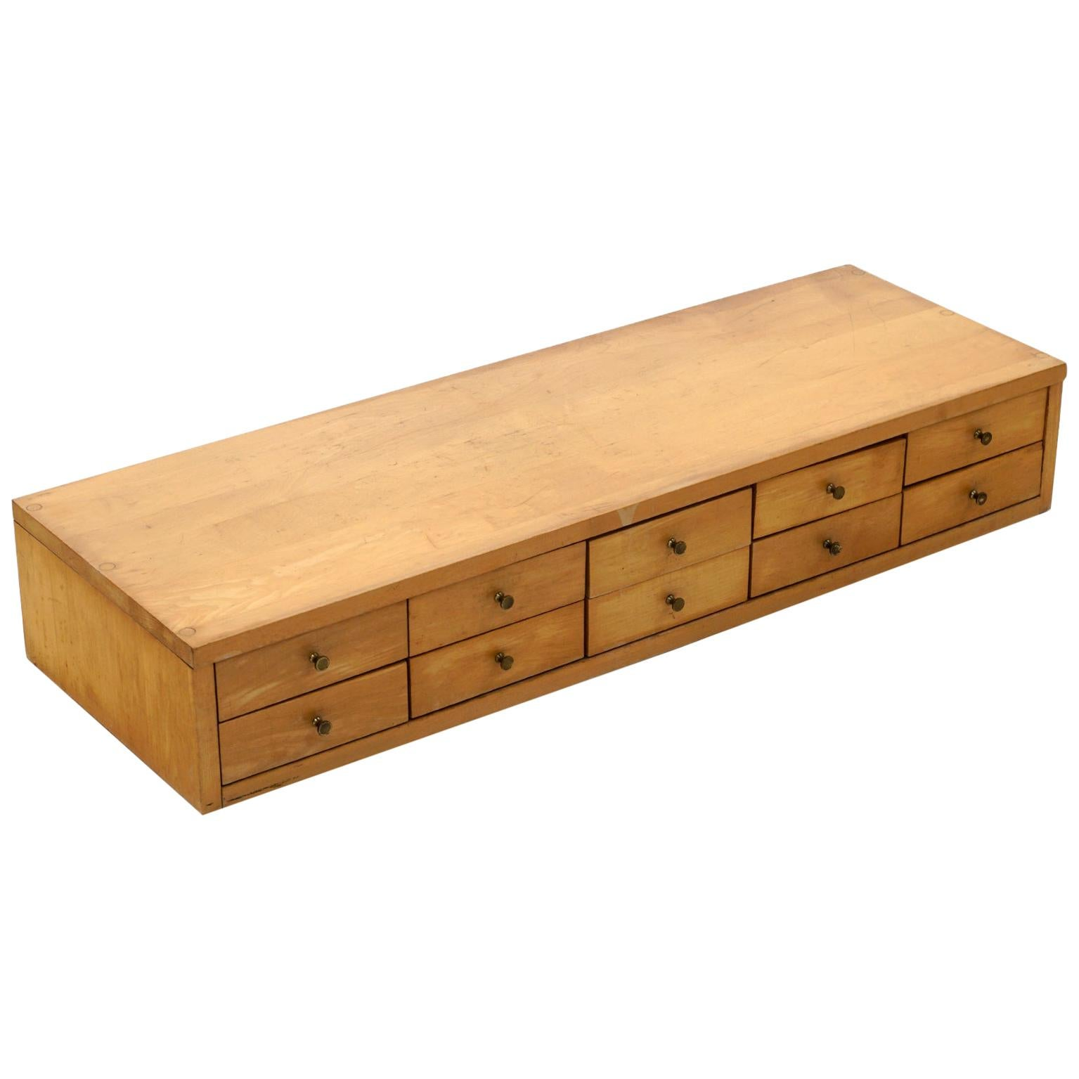 Jewelry Chest by Paul McCobb Planner Group, Ten Drawers, Original Brass Pulls