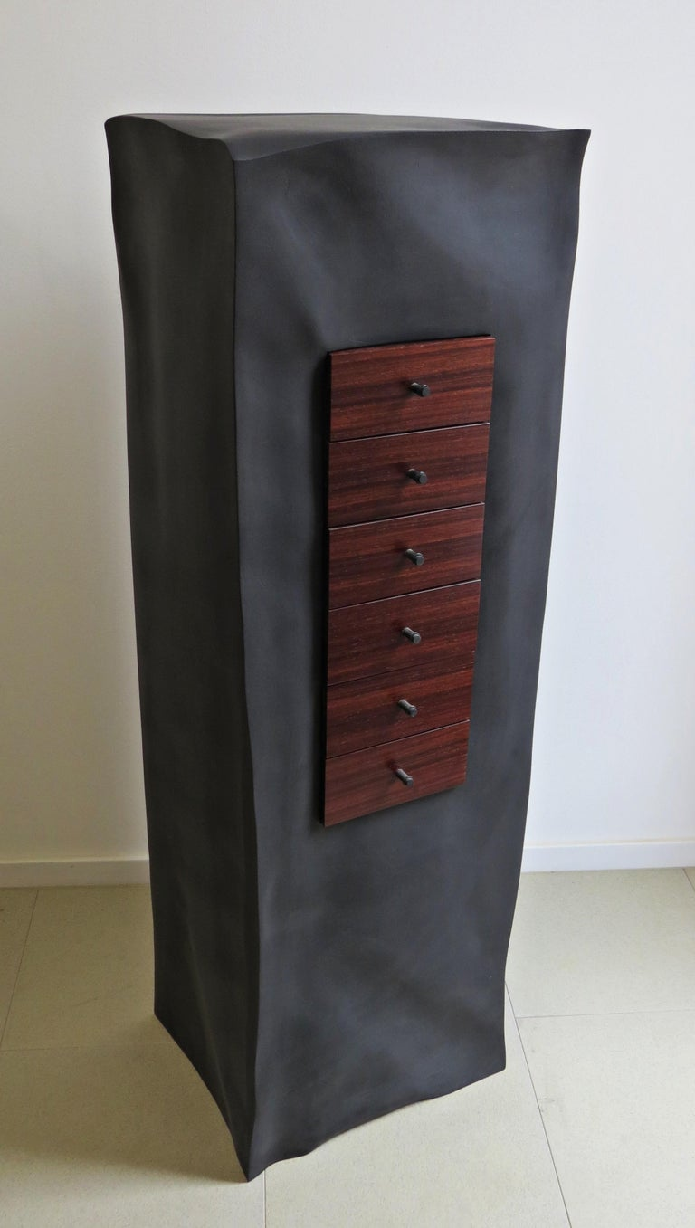 A black body made of plywood, which is organically elaborated with wrinkles and wrinkles sculptural, form the housing.