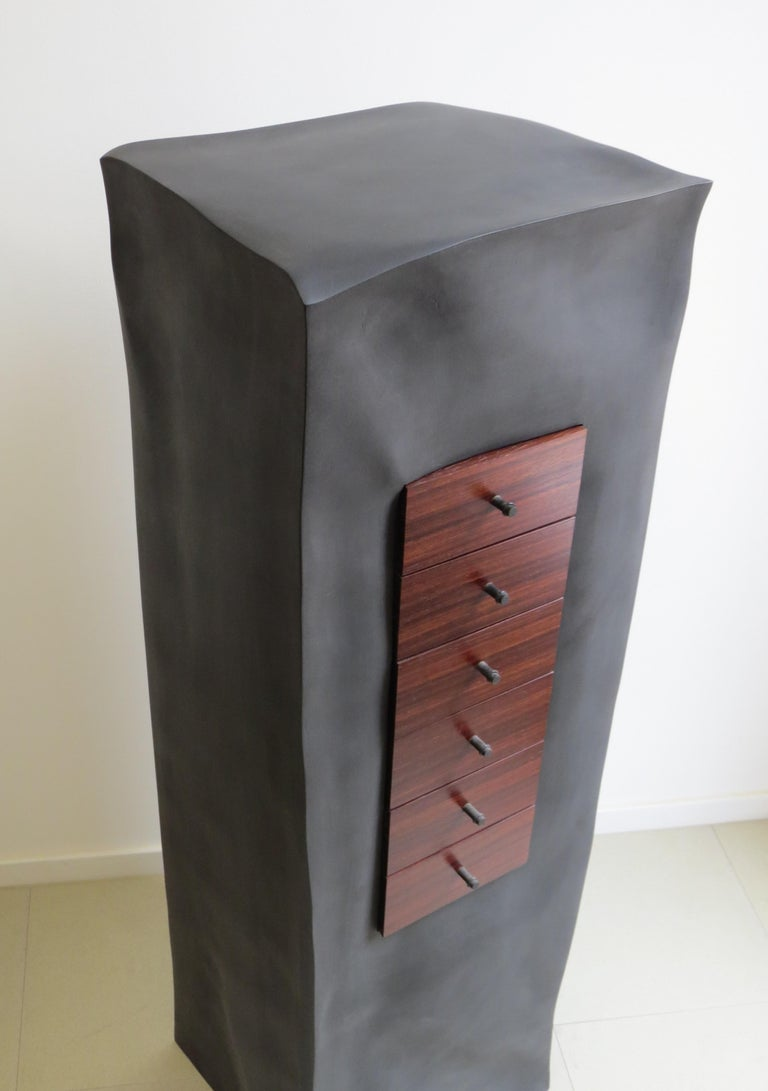 Contemporary Jewelry Chest, Six Mahogany Thrusts, Black Body For Sale