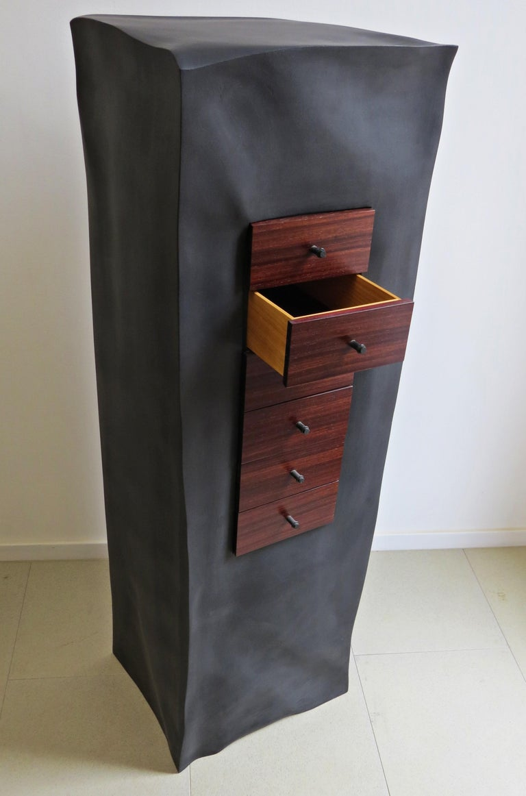 Plywood Jewelry Chest, Six Mahogany Thrusts, Black Body For Sale