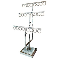 Jewelry/Tie Holder in Lucite and Polished Nickel by Charles Hollis Jones
