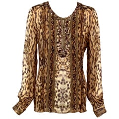 Jewels, Snakeskin, Pin Tucks, Oscar de la Renta Animal Print Silk Chiffon Blouse