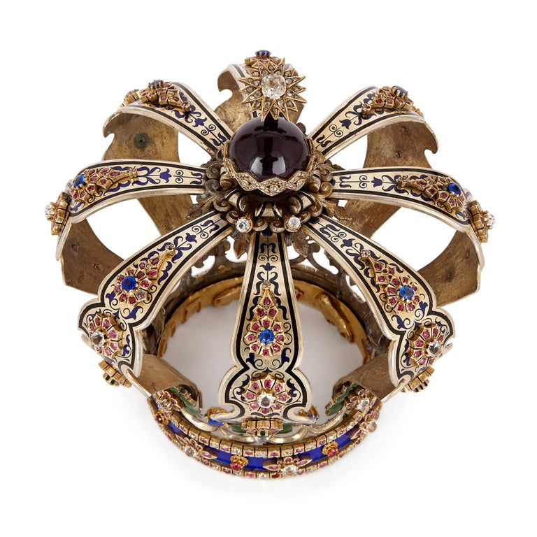 Jewish Silver Enamel And Jewel Torah Crown Keter For Sale