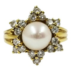 Jewish Star Diamond and Cultured Pearl Ring