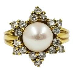 Jewish Star Diamond and Cultured Pearl Ring