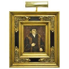 J.G. Clonney Signed Oil on Board Framed Royal Dog Golden Lab Painting Portrait