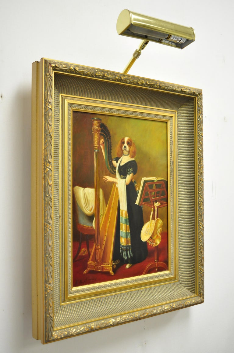 J.G. Clonney Signed Oil on Board Portrait Royal Dog Spaniel Painting Gold Frame For Sale 4