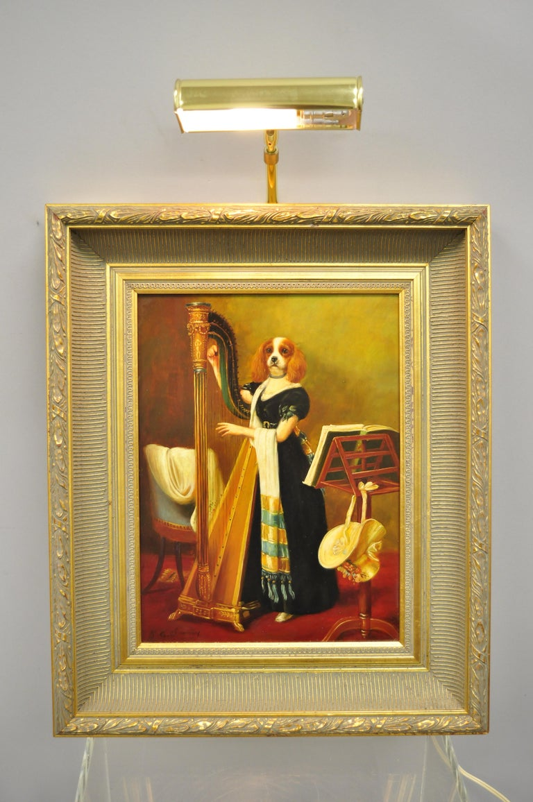 J.G. Clonney signed oil on board royal dog spaniel painting. Item feature oil on panel, gold finish, wood frame, signed on lower corner, brass-mounted, very nice item, reproduction work by British school artist active in the early 20th Century,