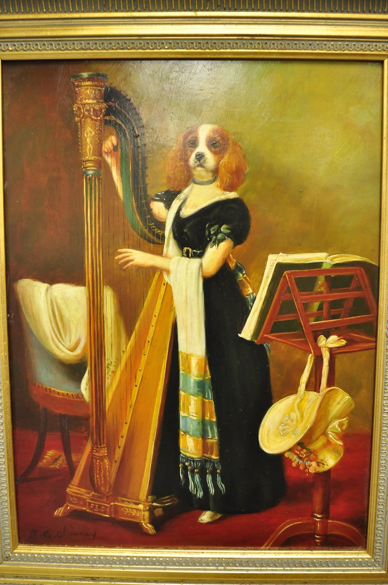 American Classical J.G. Clonney Signed Oil on Board Portrait Royal Dog Spaniel Painting Gold Frame For Sale