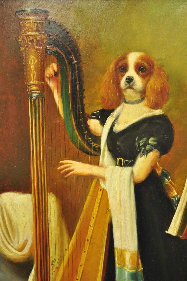 Oiled J.G. Clonney Signed Oil on Board Portrait Royal Dog Spaniel Painting Gold Frame For Sale
