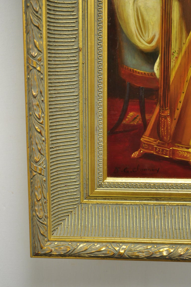 Wood J.G. Clonney Signed Oil on Board Portrait Royal Dog Spaniel Painting Gold Frame For Sale