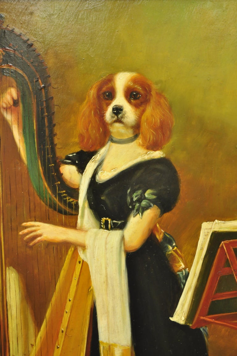 J.G. Clonney Signed Oil on Board Portrait Royal Dog Spaniel Painting Gold Frame For Sale 1