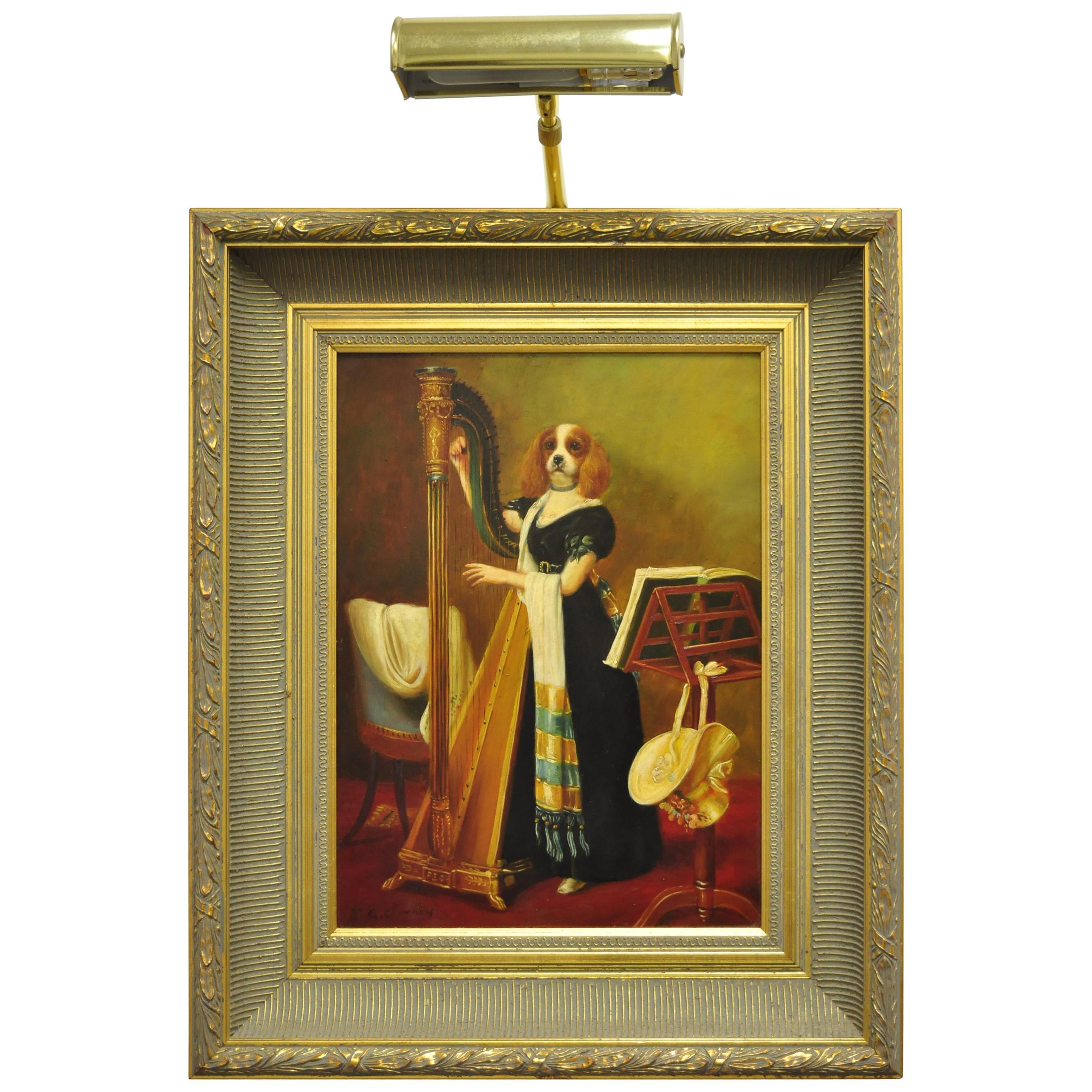 J.G. Clonney Signed Oil on Board Portrait Royal Dog Spaniel Painting Gold Frame