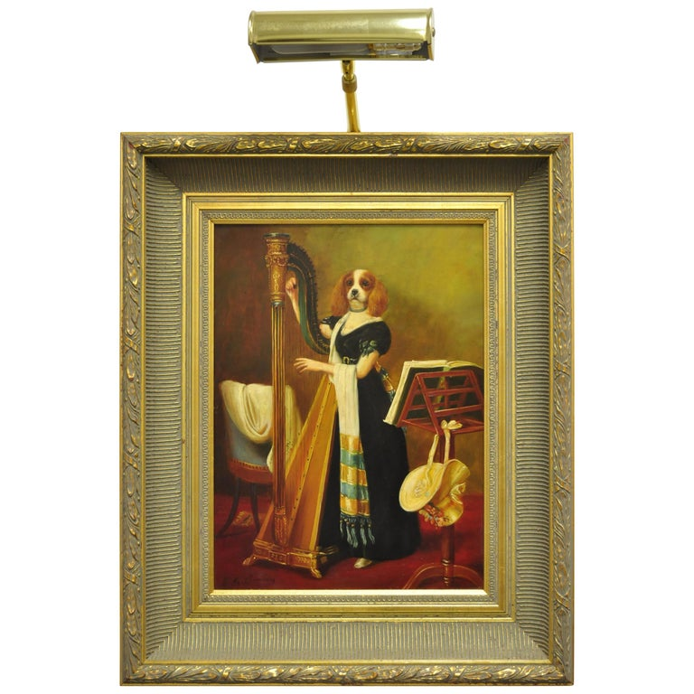 J.G. Clonney Signed Oil on Board Portrait Royal Dog Spaniel Painting Gold Frame For Sale