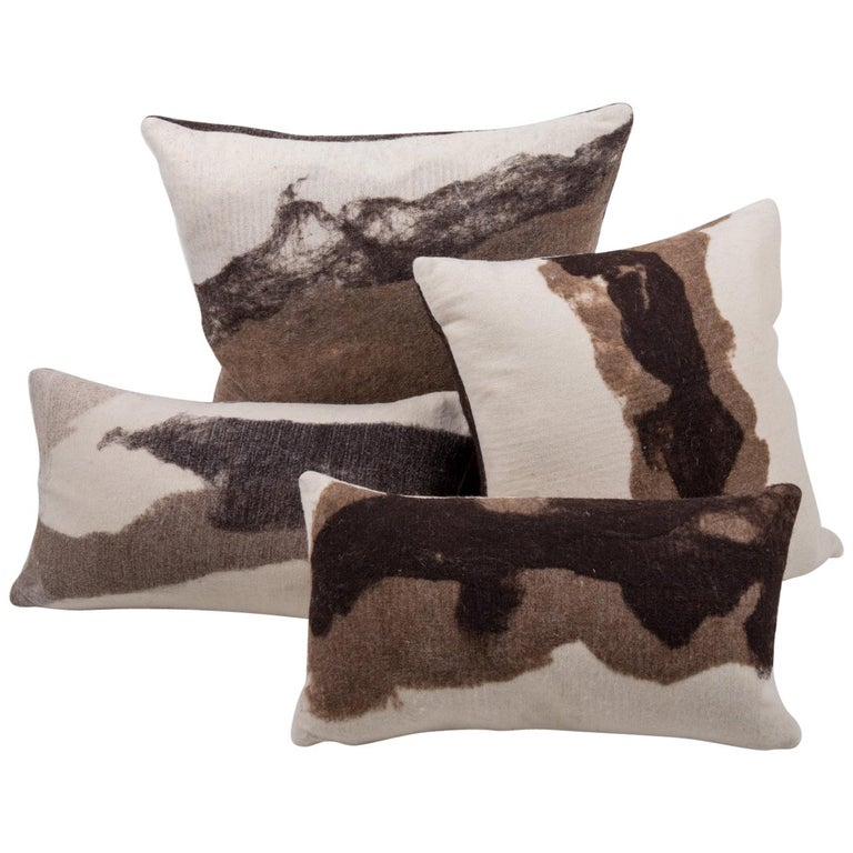 Hand-Crafted JG Switzer Artisan Wool Moorit Brown Pillow, Heritage Sheep Collection For Sale